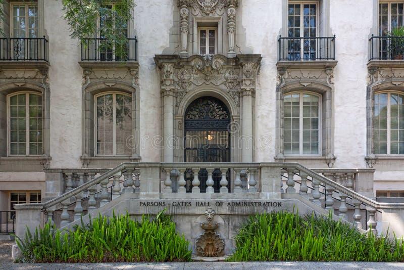 Historische Pastor-Tore Hall auf dem Campus von Caltech in Pasadena stockbild