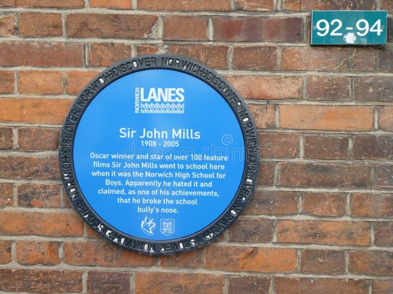 Historische Plakette f?r Sir John Mills, Norwich, Norfolk, Gro?britannien lizenzfreies stockfoto
