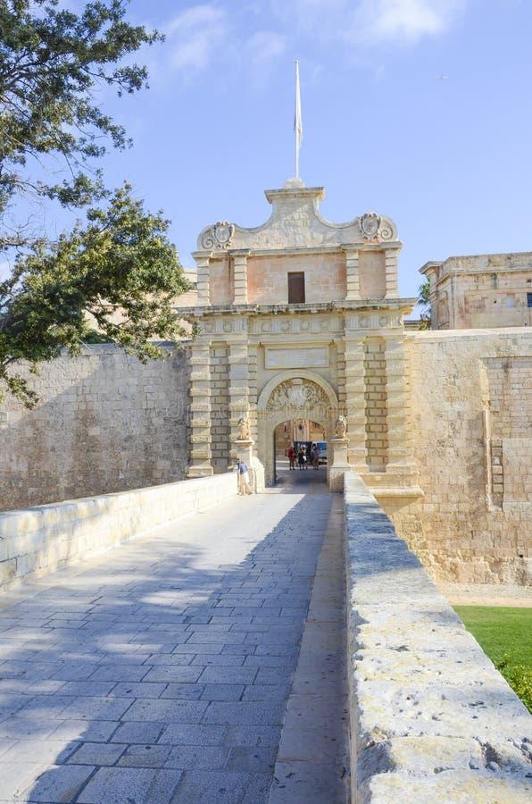 Historische poorten van Mdina, Malta stock afbeelding
