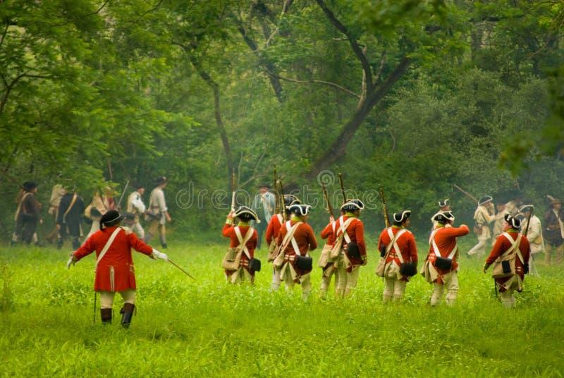 Historische Revolutionaire Slag met Militairen stock afbeeldingen