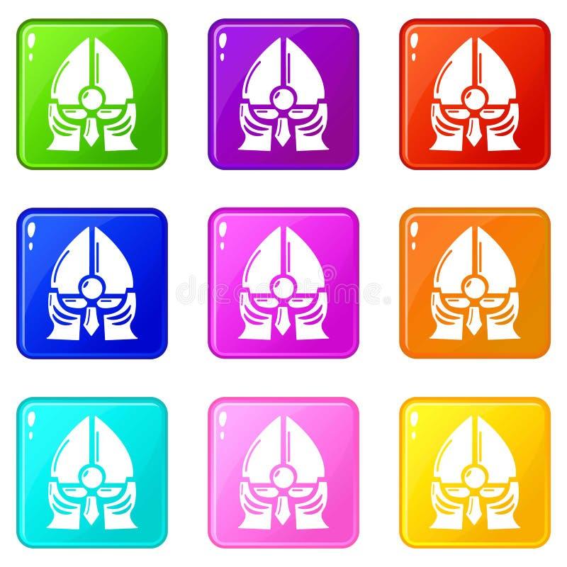 Historische Rittersturzhelmikonen stellten die 9 Farbsammlung ein vektor abbildung