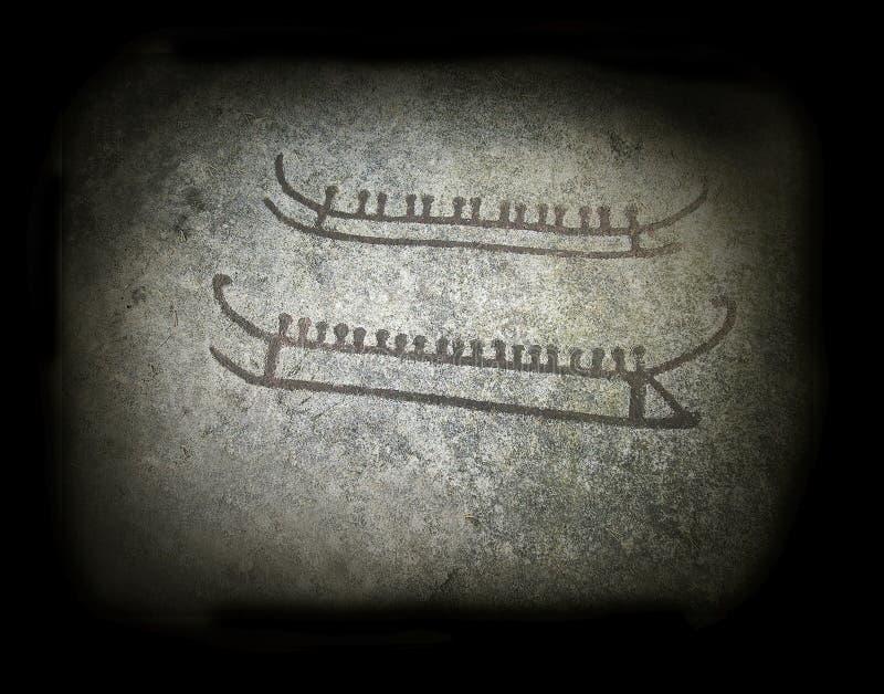 Historische rotsgravures van schepen in Tanum Zweden, de plaats van de Werelderfenis stock illustratie