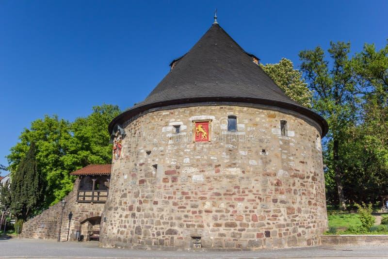 Historische Rotunde-defensietoren in Hann Muenden royalty-vrije stock afbeeldingen