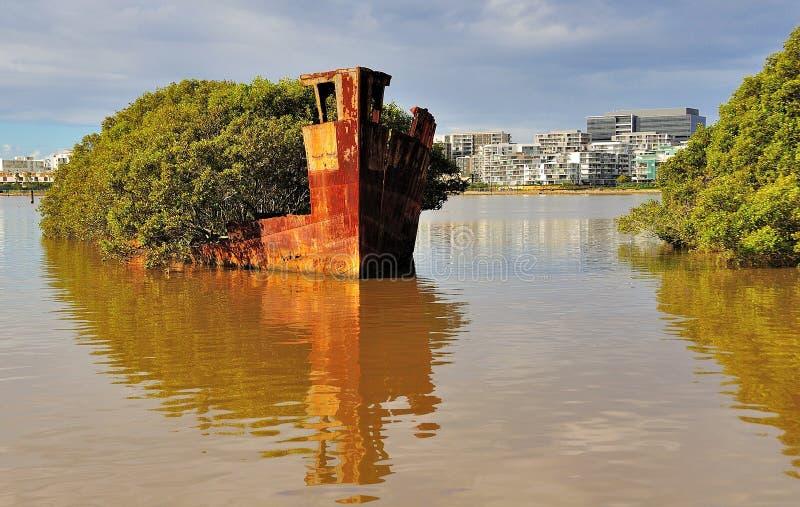 Historische Schipbreuk - Homebush Baai, Sydney stock afbeeldingen