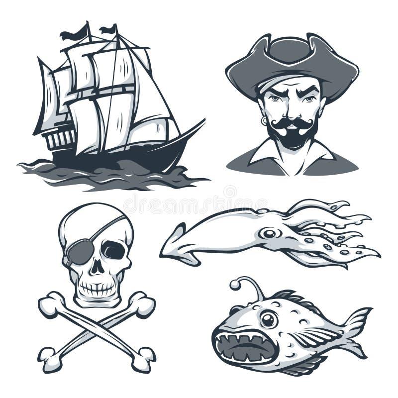 Historische Seemann-Vector-Sammlung für Ihr Retro- Logo stock abbildung