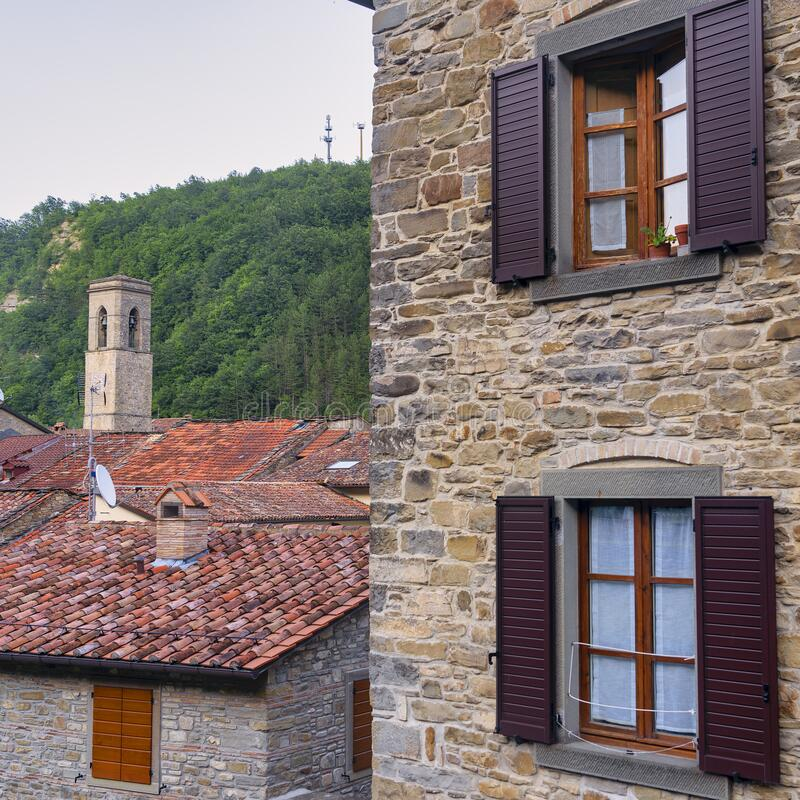 Historische Stadt Bagno di Romagna, Italien stockbild