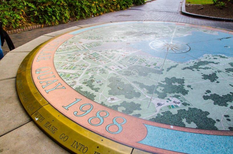 Historische Sydney Cove-kaart op cirkelsteen bij Cirkelkade royalty-vrije stock afbeeldingen