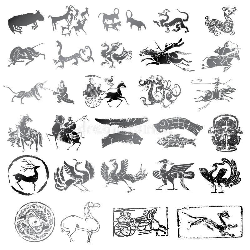 Historische symbolen met verschillend soort dieren royalty-vrije illustratie