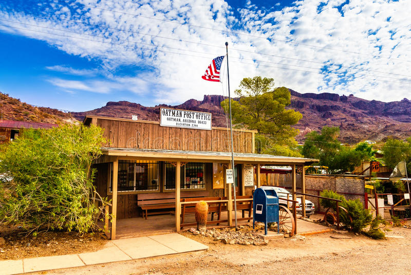Historische US Post Oatman in Arizona, Vereinigte Staaten Das bunte Bild zeigt die Post, die bei berühmtem Route 66 gelegen ist lizenzfreie stockfotos