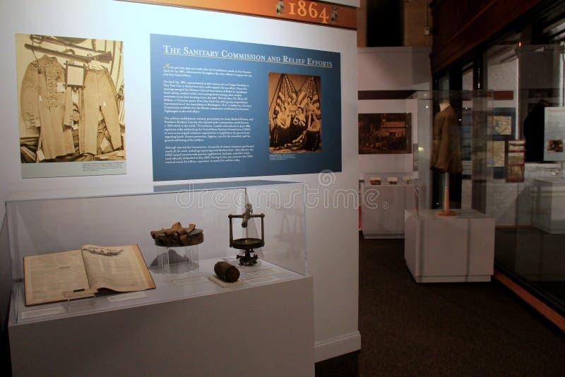 Historische vertoning van de Sanitaire de Commissie en Hulpinspanning, het Militair Museum van de Staat van New York en Veteranen stock fotografie