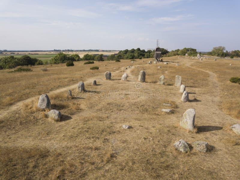 Historische Viking-begraafplaats royalty-vrije stock afbeeldingen