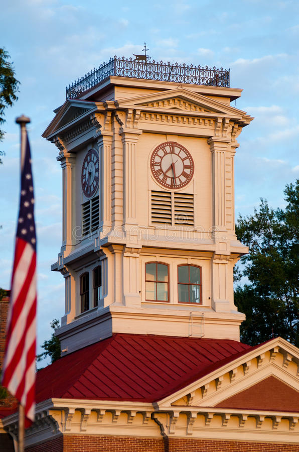 Historische Walton County Georgia Courthouse Clock-Toren stock foto