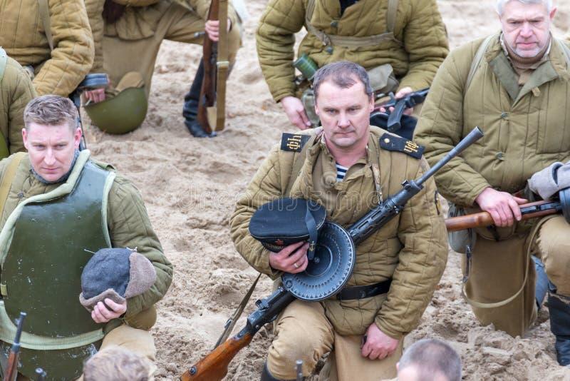 Historische wederopbouw van de Tweede Wereldoorlog, royalty-vrije stock afbeeldingen