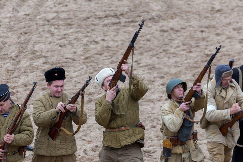 Historische wederopbouw van de Tweede Wereldoorlog, stock fotografie