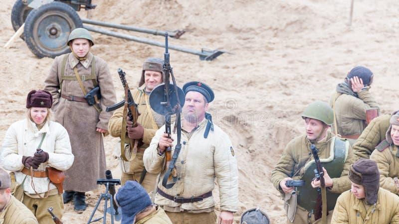 Historische wederopbouw van de Tweede Wereldoorlog stock afbeeldingen