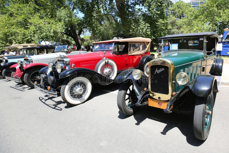 Historische Weinleseautos auf Anzeige bei 2019 königliches Automobile Club von Victoria Australia Day Heritage Vehicle-Schaukaste lizenzfreie stockfotografie