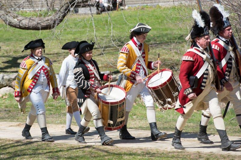 Historische Wiederinkraftsetzungs-Ereignisse in Lexington, MA, USA stockbilder
