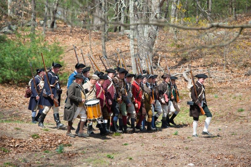 Historische Wiederinkraftsetzungs-Ereignisse in Lexington, MA, USA stockfotografie