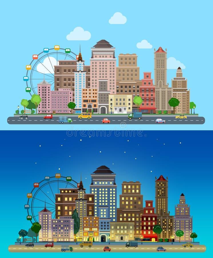 Historische wolkenkrabbers in vlakke vector dag en nacht stadsreeks vector illustratie