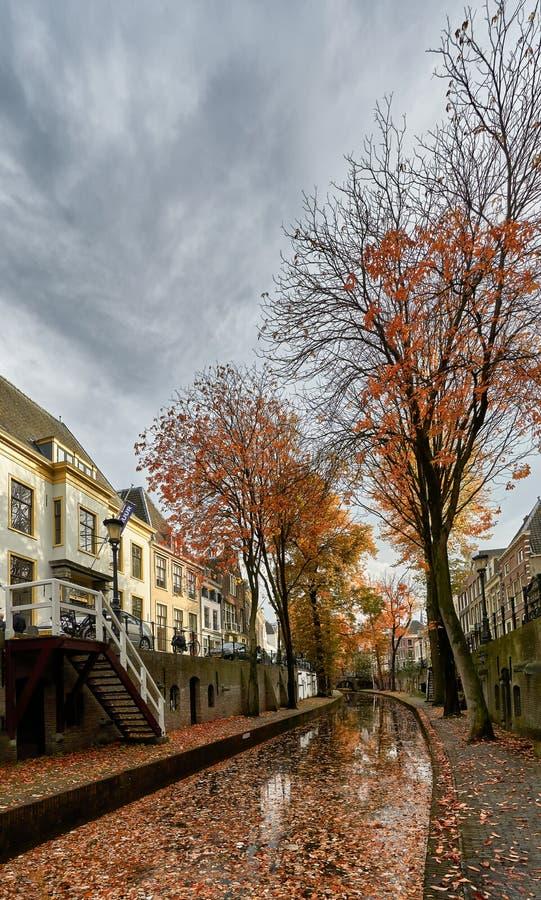 Historischer Kanal im Stadtzentrum von Utrecht in den Nachbarländern im Herbst mit Laubblättern, die den Boden bedecken stockbild