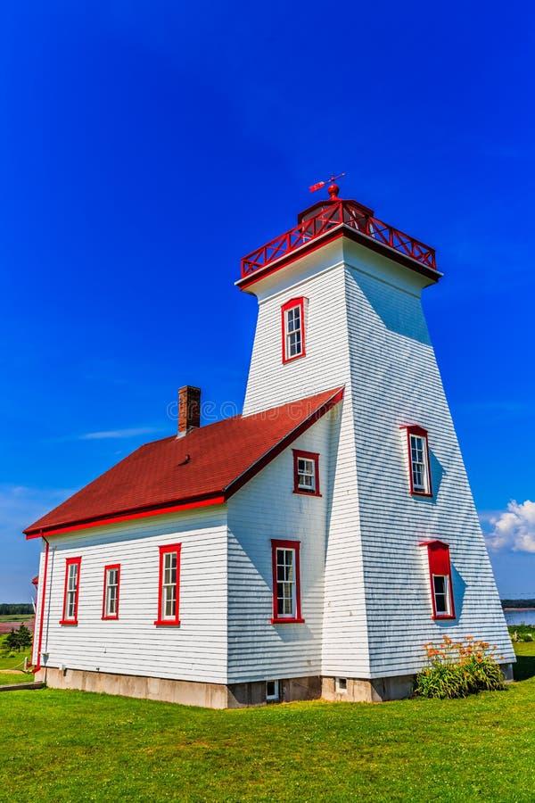 Historischer Leuchtturm der hölzernen Insel, PEI, Kanada stockbild