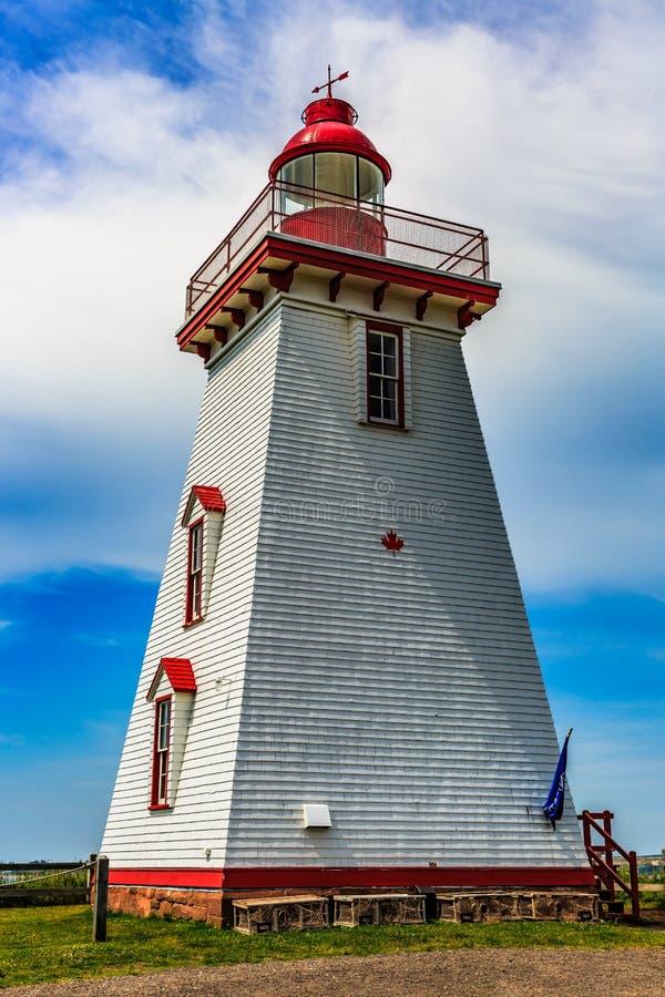 Historischer Leuchtturm Souris, PEI, Kanada lizenzfreie stockbilder