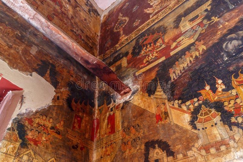 Historischer Platz, Wat Ubosatharam Der Tempel bringt viele Artefakte wie Wandwandgemälde unter, welche die Art von frühem Rattan stockbild