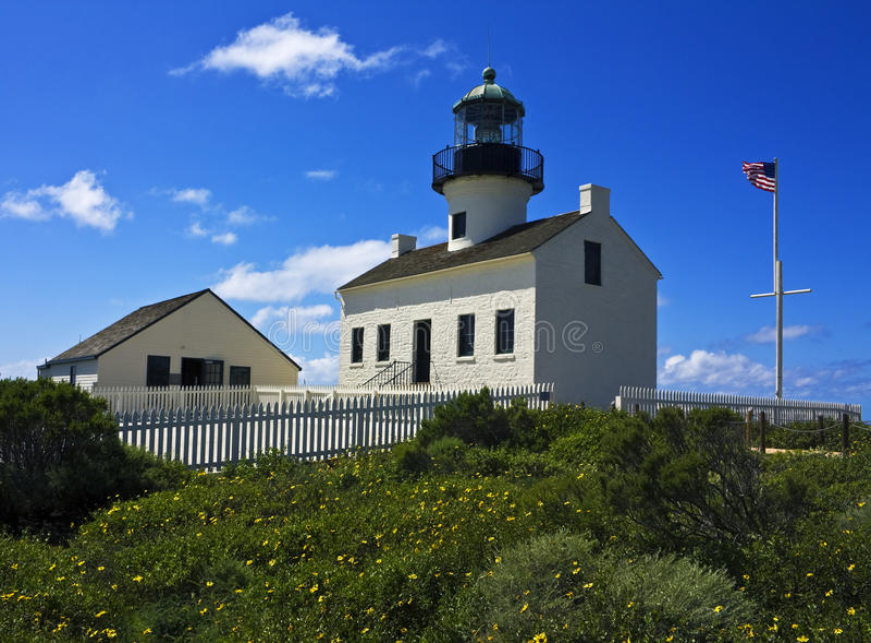 Historischer Point Lomaleuchtturm stockbild