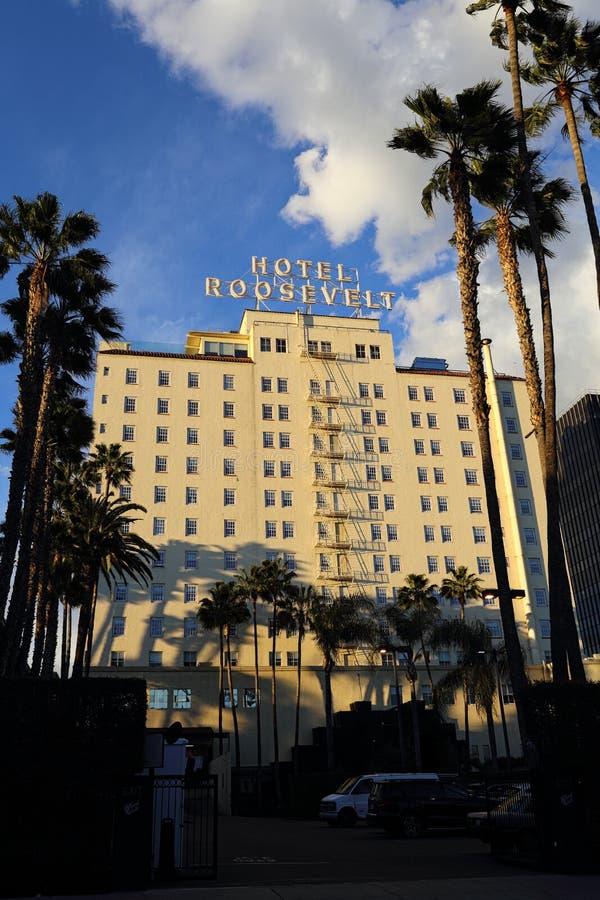 Historischer Roosevelt Hotel in Hollywood-Äußerem während des späten Nachmittages lizenzfreie stockfotografie