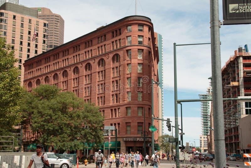 Historisches Brown-Palast-Hotel in im Stadtzentrum gelegenem Denver lizenzfreie stockfotografie