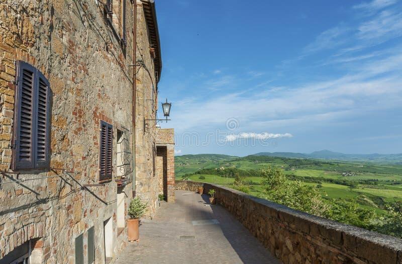 Historisches Dorf Pienza in Toskana, Italien lizenzfreies stockbild