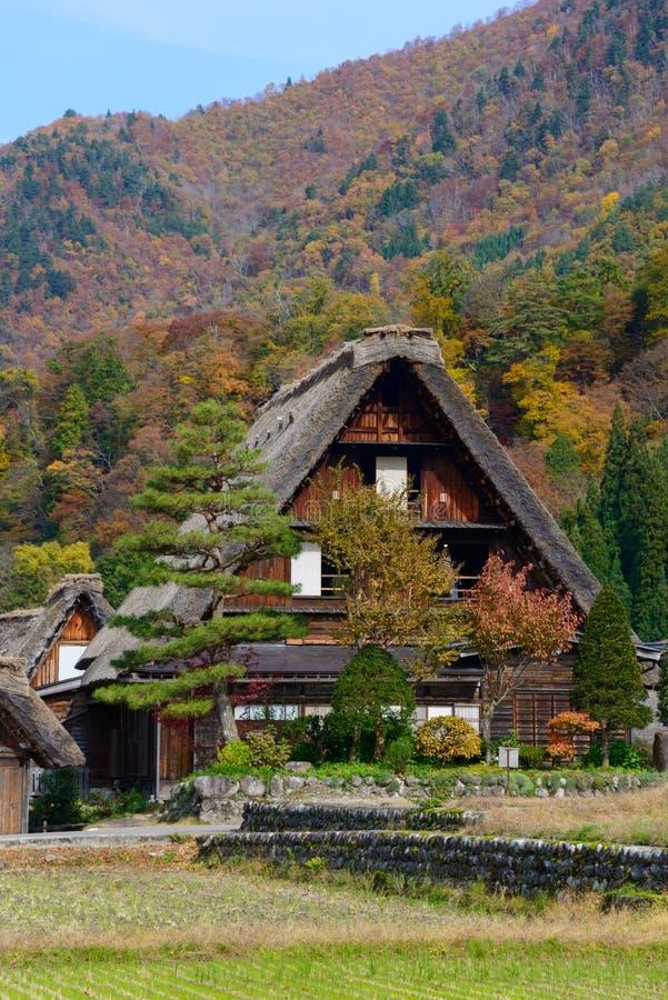 Historisches Dorf von Shirakawa-gehen in Herbst lizenzfreies stockfoto