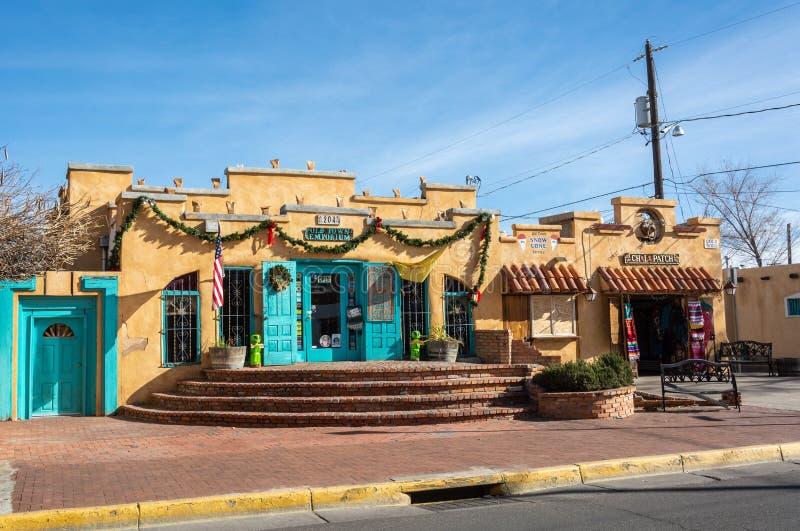 Historisches Gebäude, das gewerblich genützte Grundbesitze in Albuquerque unterbringt stockbilder