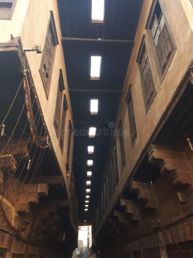 Historisches Gebäude Lorong in Ägypten lizenzfreies stockbild