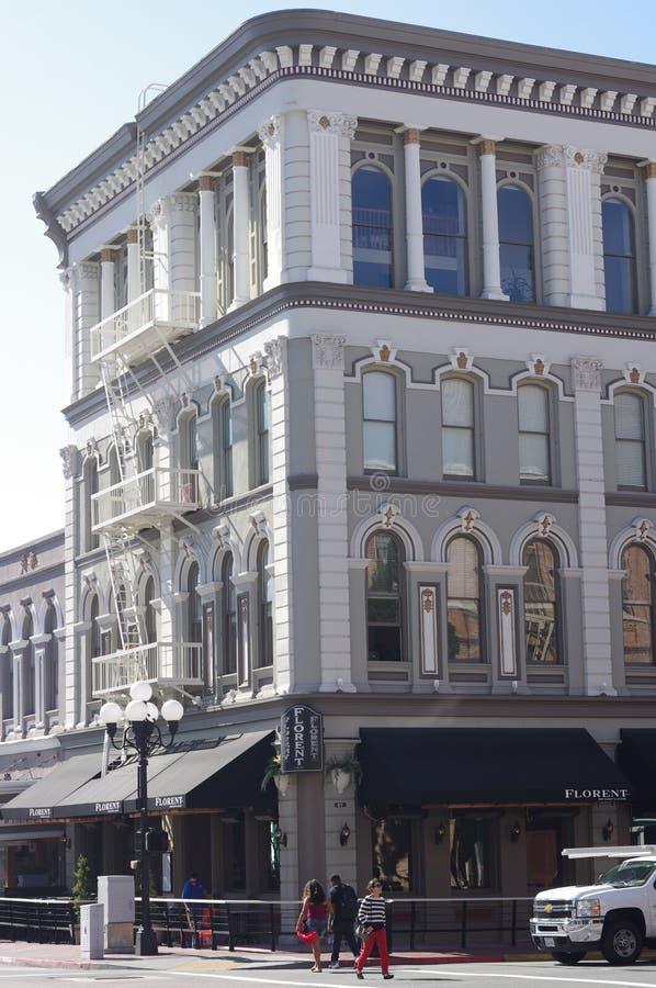 Historisches Gebäude am Viertel Sans Diego's Gaslamp lizenzfreies stockfoto