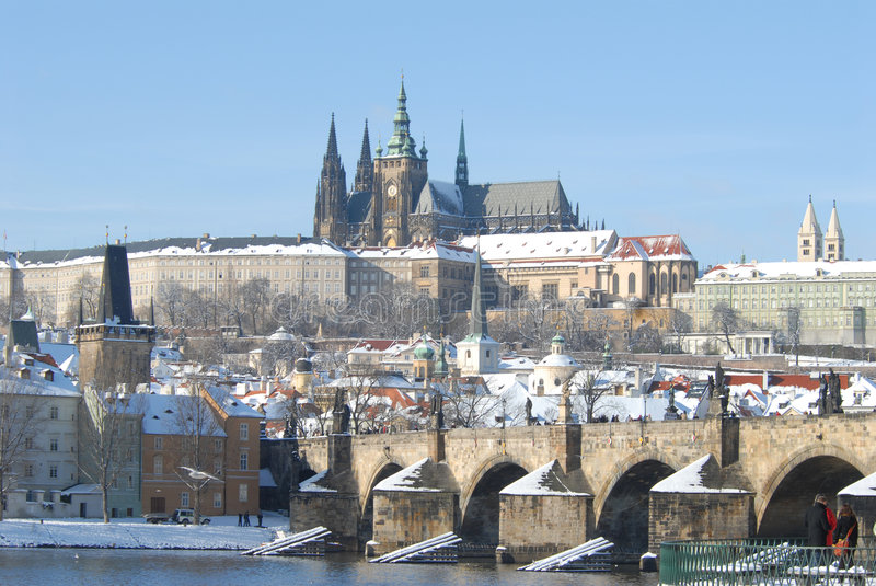 Historisches Prag im Winter stockfoto