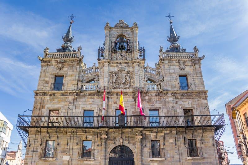 Historisches Rathaus auf dem Piazza-Bürgermeister von Astorga lizenzfreie stockbilder