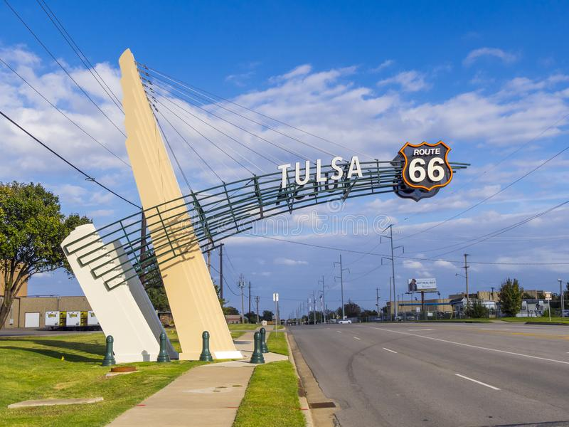 Historisches Route 66 in Tulsa Oklahoma stockbilder