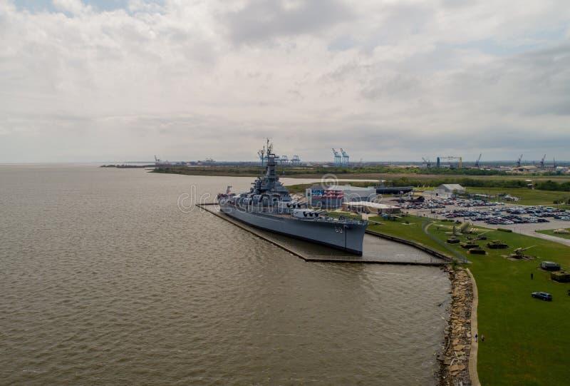 Historisches Schlachtschiff Memorial Park USSs Alabama stockbilder