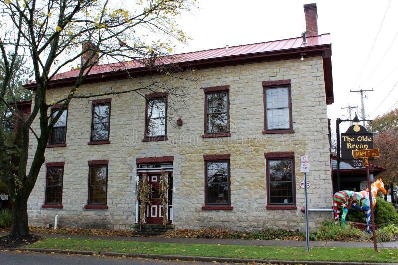 Historisches Steinrestaurant irgendein Sagen wird, der Olde Bryan Inn, Saratoga Springs, New York, 2018 frequentiert lizenzfreies stockfoto