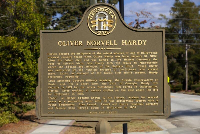 Historisches Zeichen Georiga für Oliver Hardy stockbild