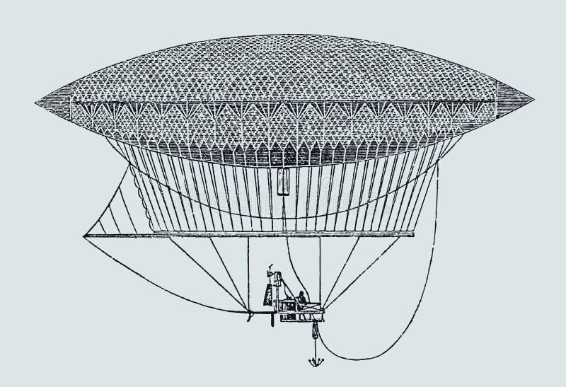Historisk aeronautisk ånga-drivande och dirigible ballon från 1852 stock illustrationer