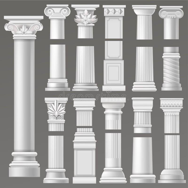 Historisk antik kolonn för forntida kolonnvektor eller klassikerpelare av den ancientry historiska illustrationen för roman arkit royaltyfri illustrationer