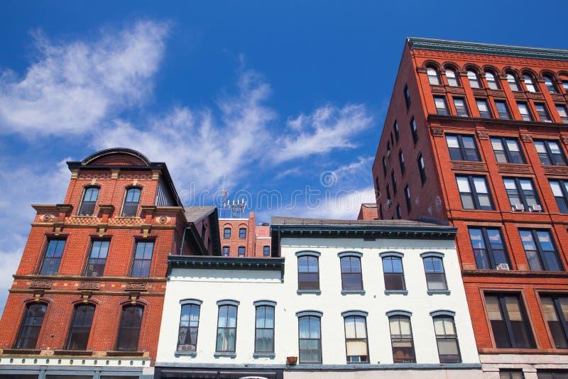 Historisk arkitektur i Portland Maine USA royaltyfri bild