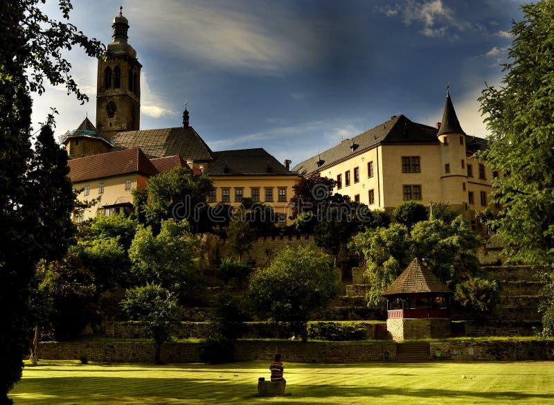 Historisk arkitekturpanorama, Kutna Hora, Prague royaltyfria foton
