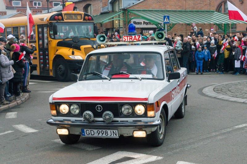 Historisk bil av brandkåren på nationell självständighet På 11 är November 2018 den 100. årsdagen av att återvinna independenc royaltyfria foton