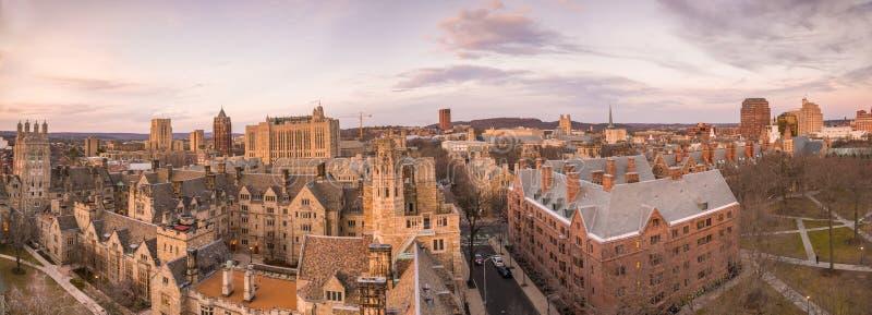 Historisk byggnad och Yale universitetsområde royaltyfri bild