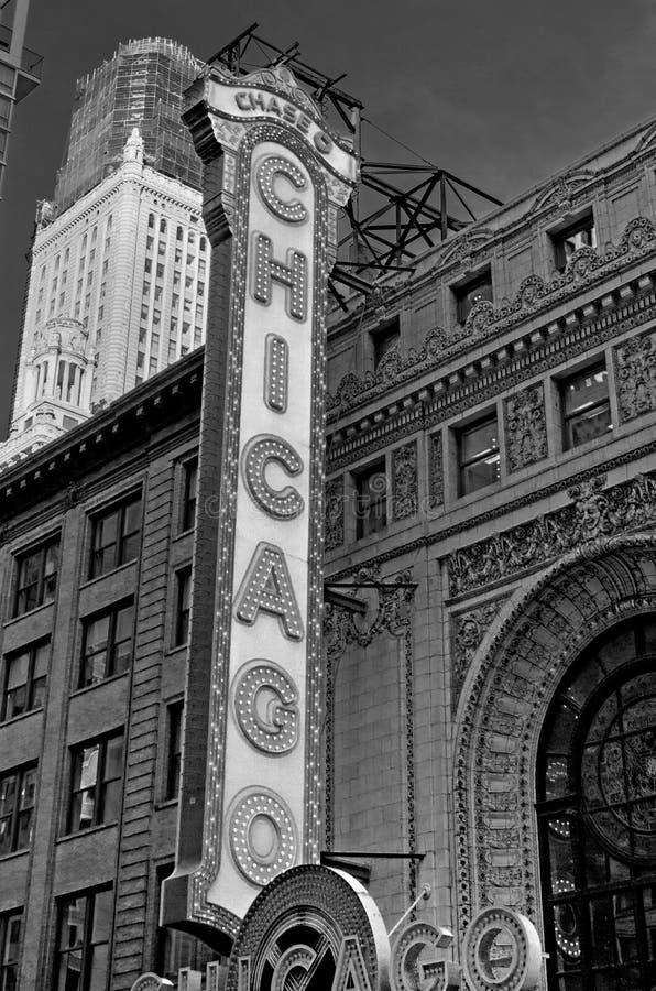 Historisk Chicago teater i i stadens centrum Chicago arkivfoto