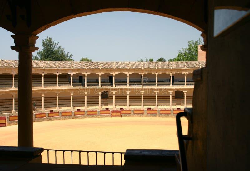 historisk cirkel för bullfighting arkivbild
