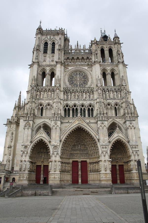 Historisk domkyrka i Amiens, Frankrike arkivfoton